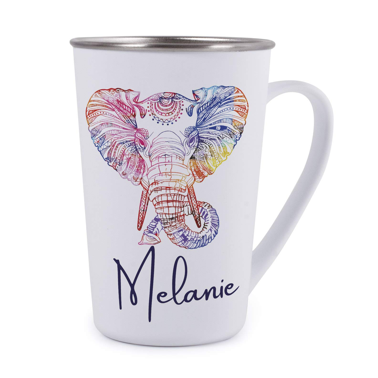 Personalized Gifts Colorful Elephant Coffee Mug - 17oz Stainless Steel Tumbler Coffee Mug -Birthday Gifts, Christmas Gifts, Mother's Day Gifts, Father's Day Gifts, Funny Mug for Kids by USA Custom Gifts (Image #1)