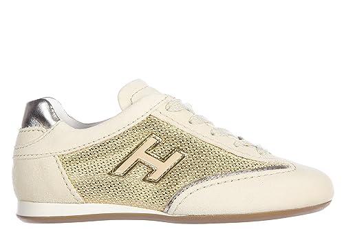 Hogan Scarpe Sneakers Bambina camoscio Nuove Olympia h Flock Oro   Amazon.it  Scarpe e borse e8372e9efce