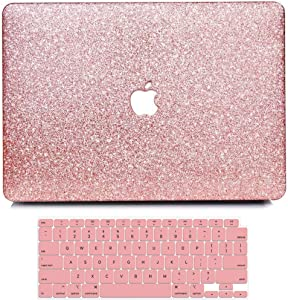 MacBook Air 13 Inch Case 2020 2019 2018 Release A2179 A1932, B BELK Sparkly Bling Crystal Smooth PC Hard Case with Keyboard Cover for Mac Air 13.3 with Retina & Touch ID (Shining Rose Gold)