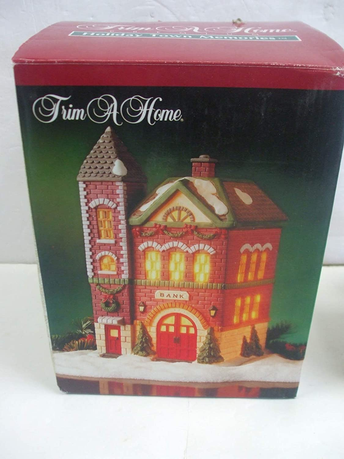 Trim A Home Holiday Town Memories - Bank Building Hand Painted Porcelain Lighted House