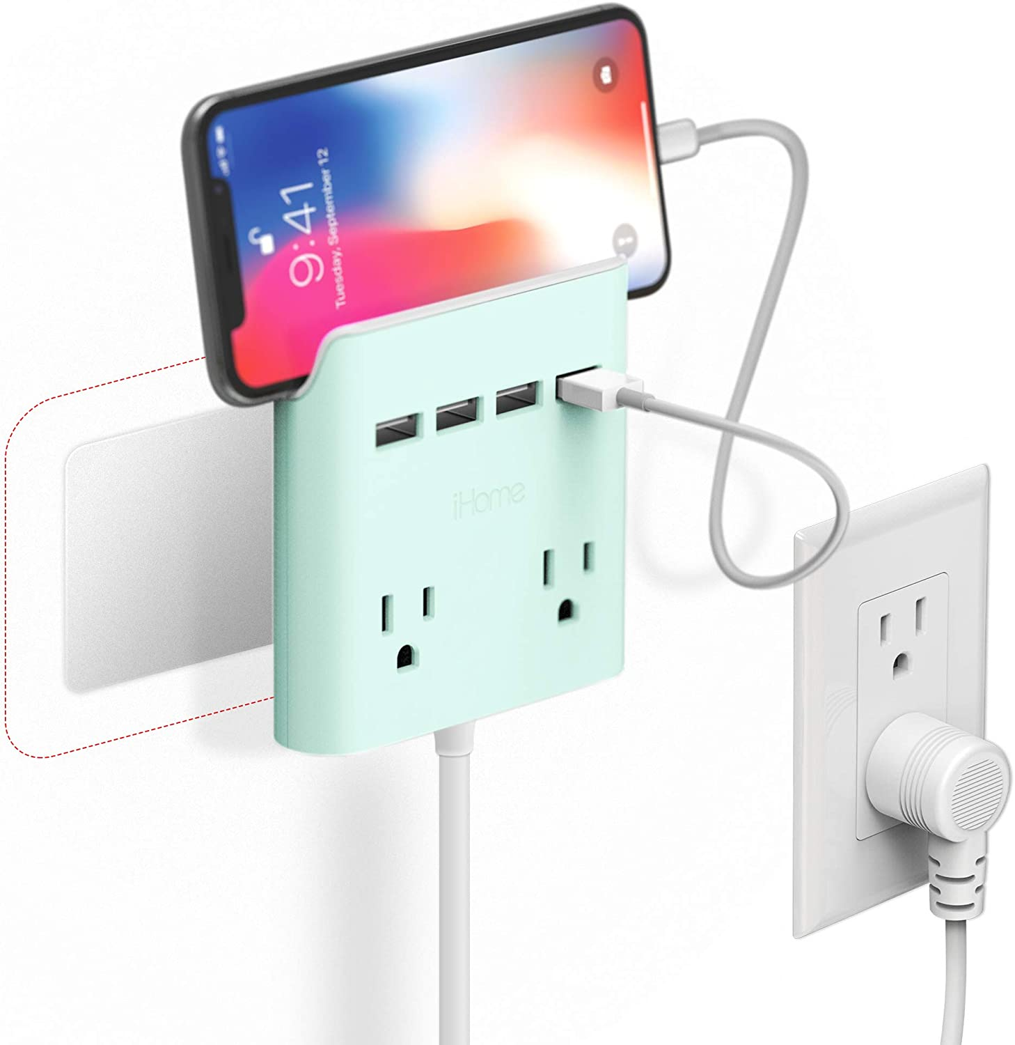 iHome Power Reach Multi-Plug Outlet Extender and Splitter, Fast Charging Portable Power Station with 2 Outlets and 4 USB Ports, 6 ft Extension Cord and Magnetic Wall Mount