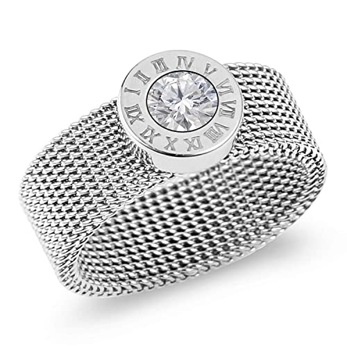 71cf470b4 Designer Inspired Silver Titanium Steel Mesh Band Ring with Roman Numerals  and Solitaire Swarovski Crystal (