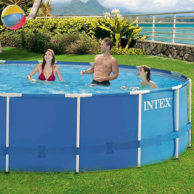 INTEX Metal Frame Set - Piscina desmontable tubular, 457 x 91 cm, con depuradora y complementos: Amazon.es: Jardín
