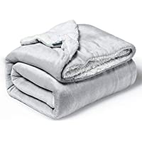 Bedsure Sherpa Fleece Throw Blanket for Couch - Light Grey Thick Fuzzy Warm Soft Blankets and Throws for Sofa, 50x60…