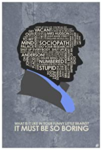 "Sherlock. Benedict Cumberbatch: IT Must BE SO Boring Word Art Print Poster (12"" x 18"") by Artist Stephen Poon."