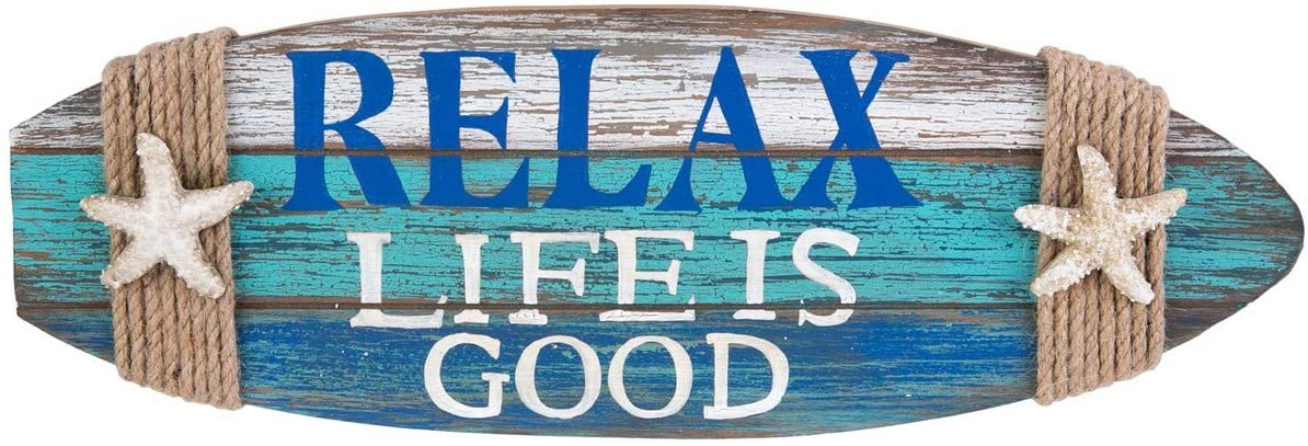 Beachcombers Relax Life is Good Surfboard Shape Coastal Plaque Wall Sign with Starfish Wall Hanging Decor Decoration for The Beach Blue