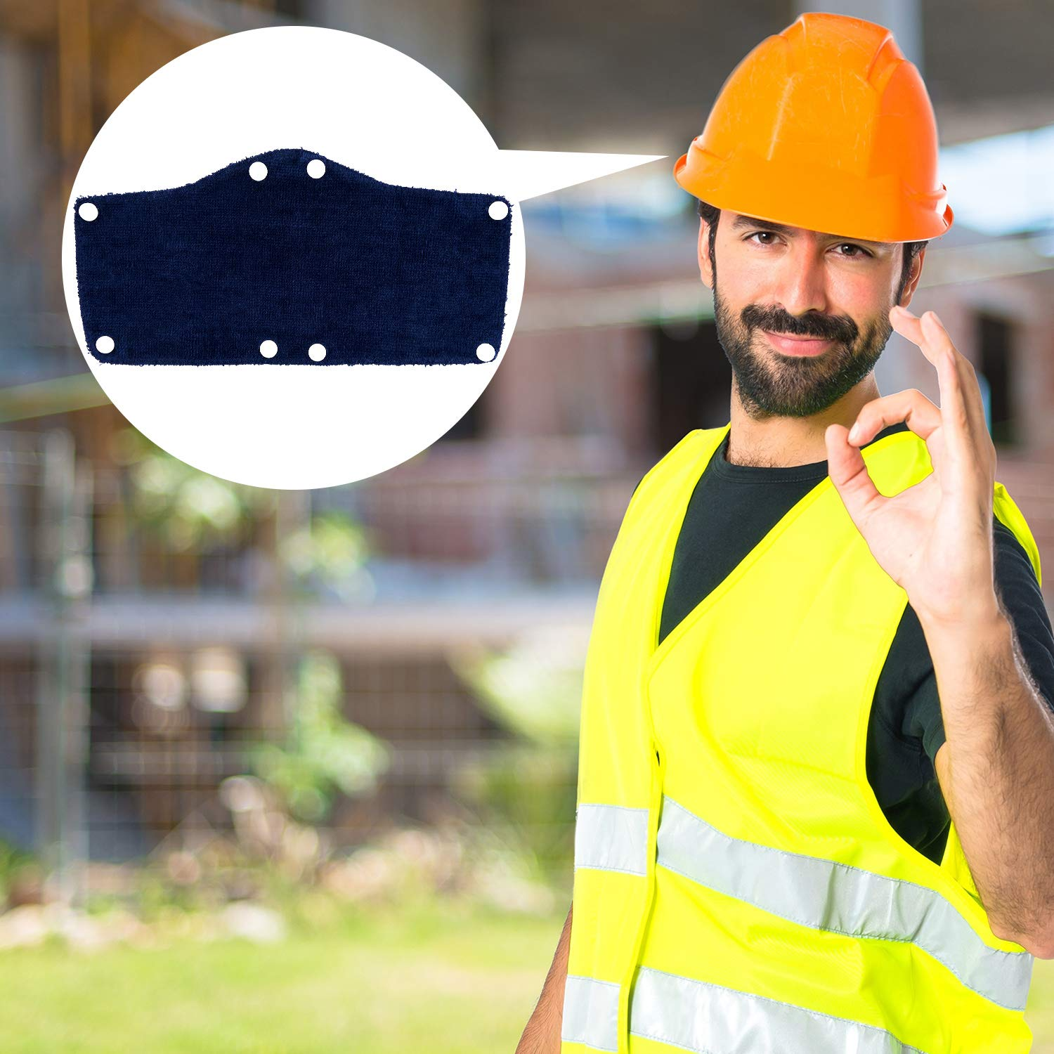 8 Pieces Cotton Hard Hat Sweatband Snap-on Sweatband Terry Cloth Hard Hat Liner for Safety Accessories Blue