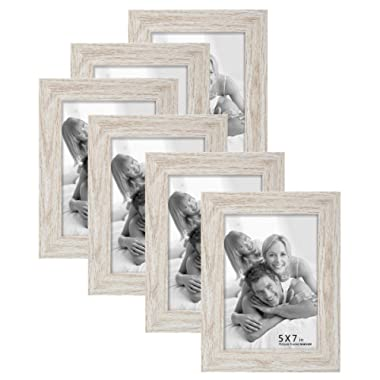 BOICHEN 6 Pack 5x7 Picture Frame Wood Pattern High Definition Glass Tabletop or Wall,White Woodgrain Photo Frames 5x7 (6 Pack)