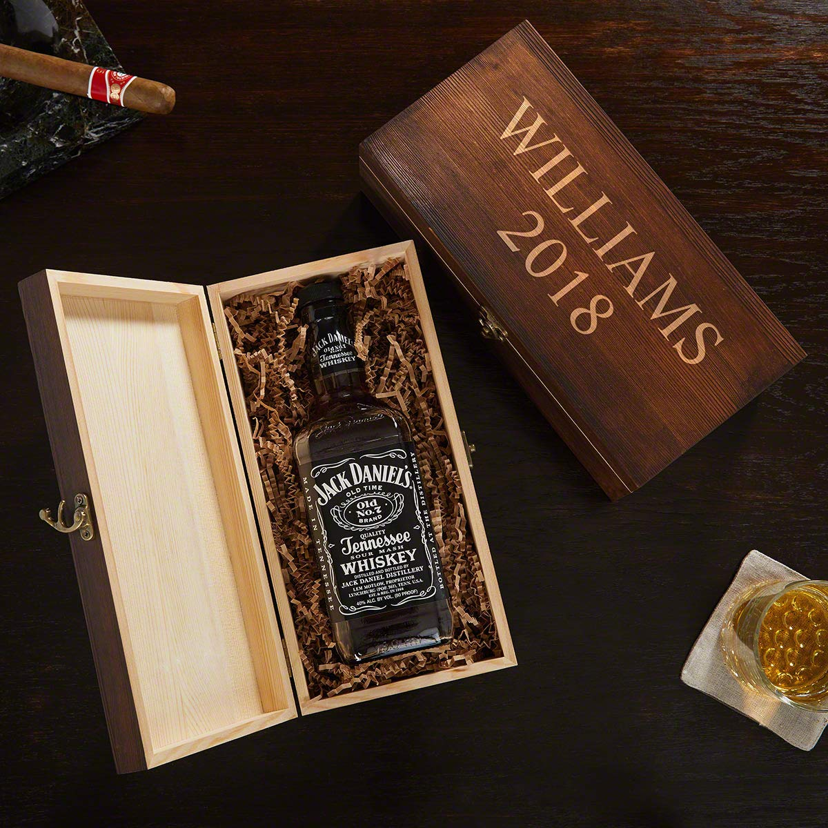 HomeWetBar Custom Engraved Wooden Gift Box for Liquor Bottles (Personalized Product)