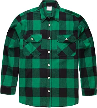 Image Unavailable. Image not available for. Color  Green Extra Heavyweight  Brawny Buffalo Plaid Flannel Shirt 1c2a3a4b917