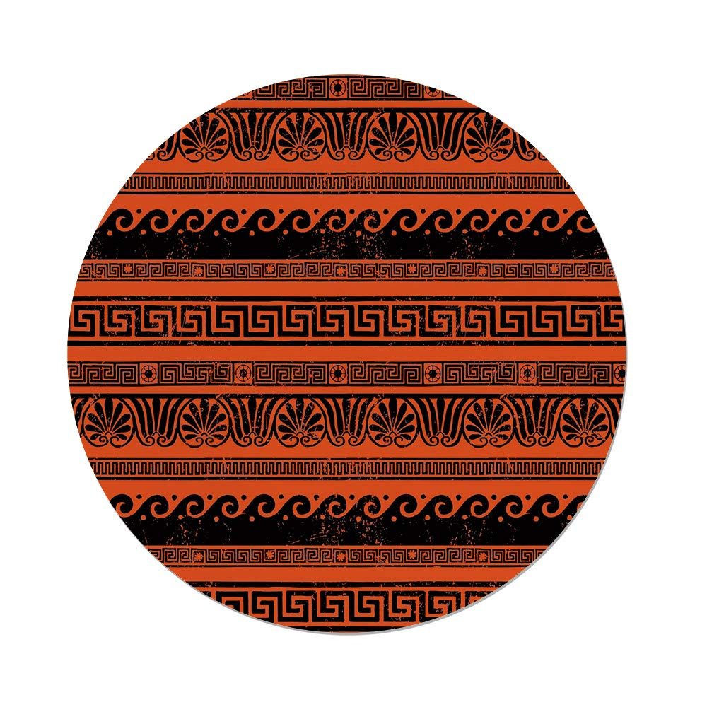 Polyester Round Tablecloth,Toga Party,Classical Border Ornaments in Ancient Greek Style Grunge Aged Display Print Decorative,Orange Black,Dining Room Kitchen Picnic Table Cloth Cover Outdoor Indo