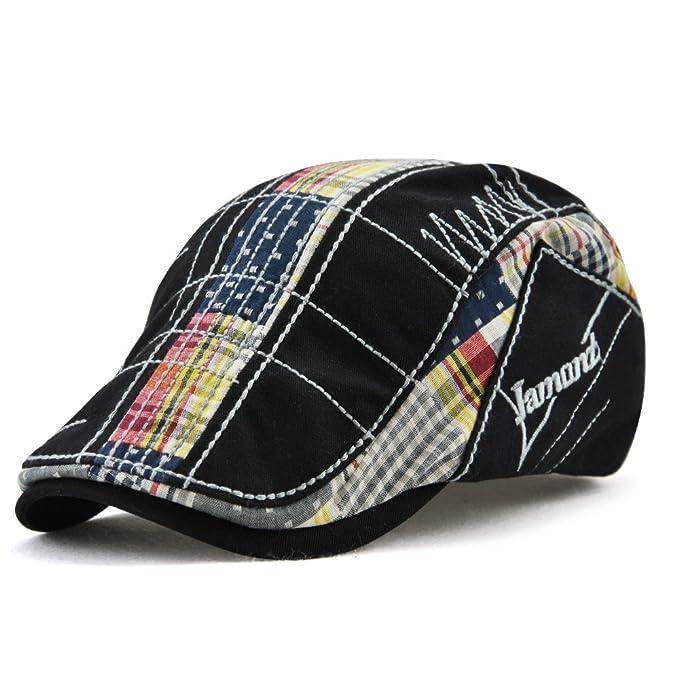 FayTop Men s Cotton Flat Cap Newsboy Ivy Irish Cabbie Scally Cap Cabbie  Driving Caps Hats 12945 7abde47852e
