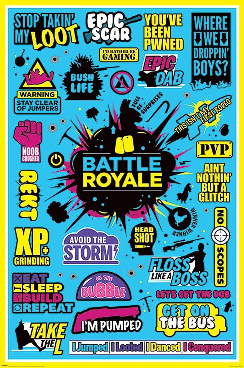 Close Up Póster Battle Royale - Infographic 2 (61cm x 91,5cm) + 1 póster Sorpresa de Regalo