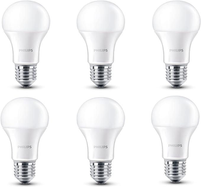 Philips - Pack de 6 bombillas LED, luz blanca cálida, 6 W ...