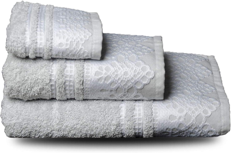 NORA HOME Juego de Toallas Puntilla 100% algodón 3 Piezas (Gris/Blanco): Amazon.es: Hogar