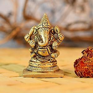 CraftVatika Brass Lord Ganesha Statue for Pooja Home Decor Car Dashboard Hindu God Ganesh Ganpati Decorative Showpices for Temple
