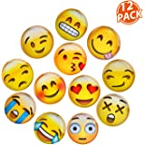 Lesfit Magnetic Emojis, 12 Pack 3D Glass Smiley Emoji Fridge Magnets for Refrigerator and Whiteboard (1.18 inches)