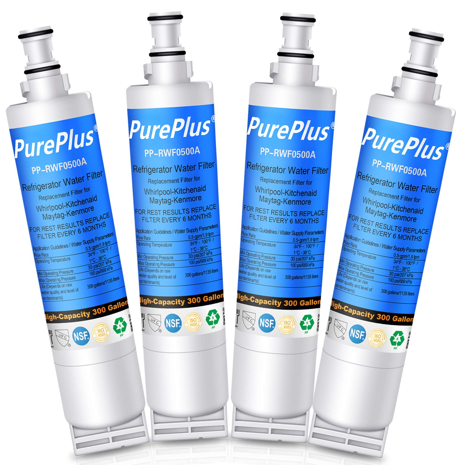PurePlus Replacement Refrigerator Water Filter, Compatible with 4396508, 4396510,Kenmore 46-9010, 469010, EDR5RXD1, Kitchenaid 4396547, 4396548(4 PACK)
