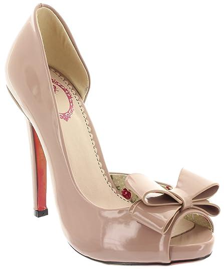 Banned BDN002 Peep Toe Pumps Doris Nude Beige Size: 6.5: Amazon.co.uk: Shoes  & Bags