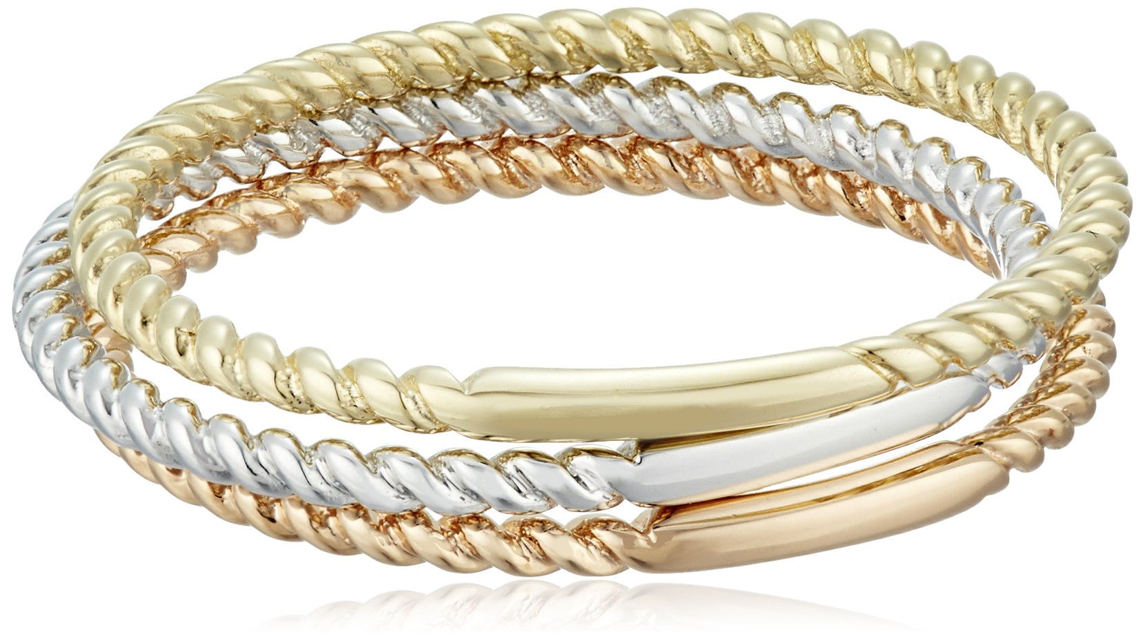 14k Gold 1mm Rope Band 3-Piece Stackable Ring Set, Size 7