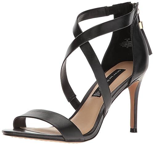 STEVEN by Steve Madden Women's Nahlah Dress Sandal, Black Leather, 6 M US
