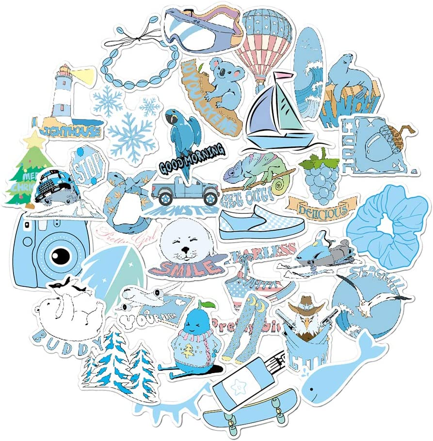 Stickers for Water Bottles Teens Girls Boys Kids Adults Waterproof Vinyl Cute Stickers Pack for Laptop Bicycle Bike Motorcycle Luggage Car Skateboards Guitars Party Supplies (35pcs, Blue)