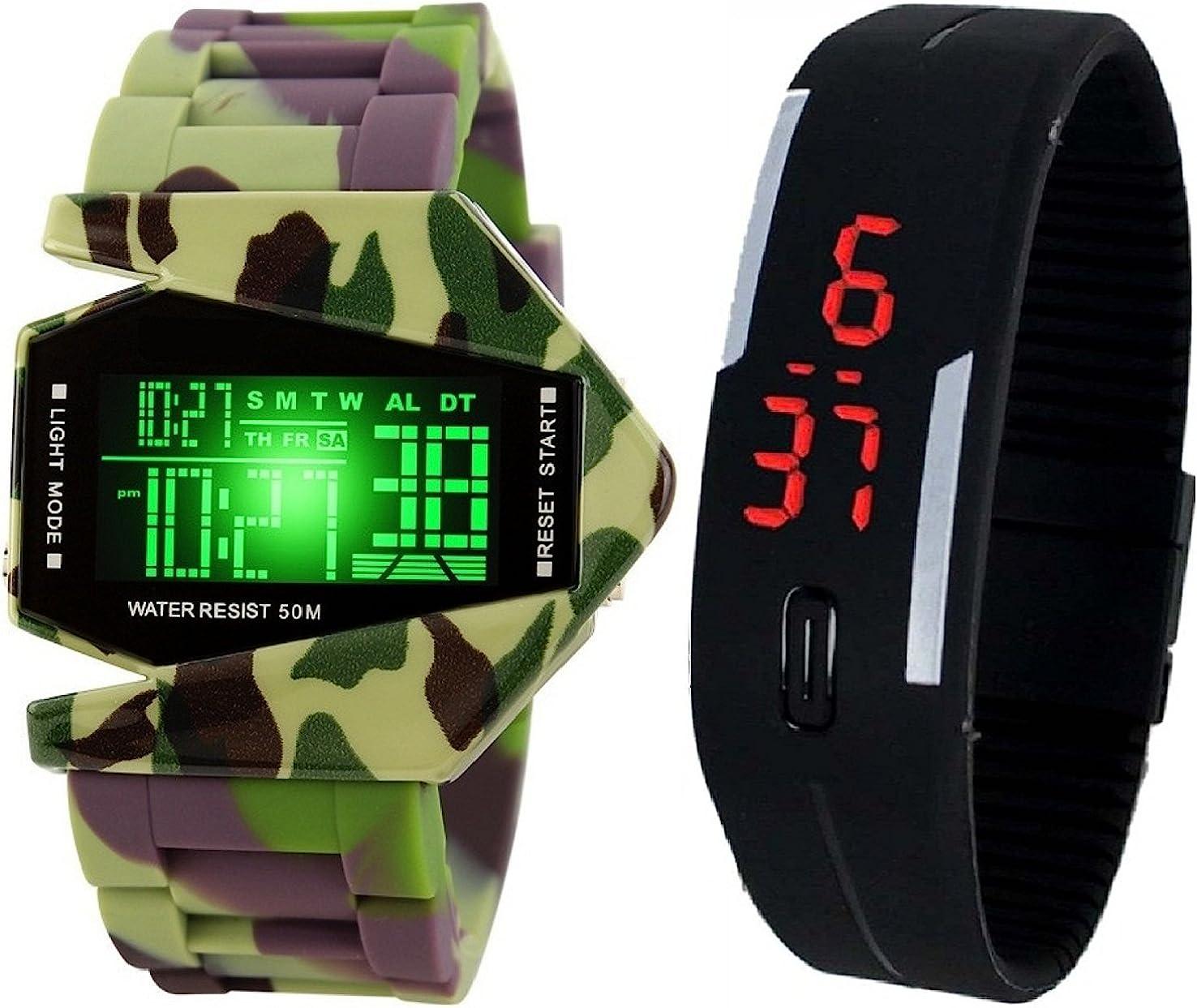 Pappi-Haunt - Reloj de pulsera digital inteligente con diseño de avión de silicona, color negro