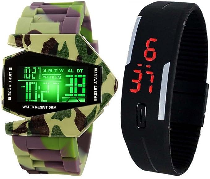 pappi Boss - Cuerpo de metal - Militar Color - multifunción aviones con luz LED reloj Digital para Hombres, Niños: Amazon.es: Relojes