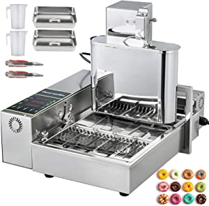 VBENLEM 110V Commercial Automatic Donut Making Machine, 4 Rows Auto Doughnut Maker 5.5L Hopper, Adjustable Thickness Fryer, 304 Stainless Steel, Silver