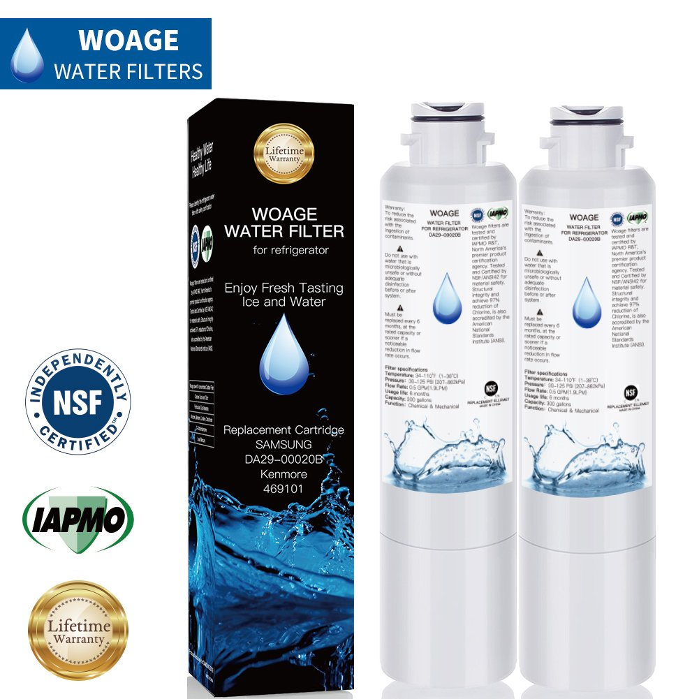 Samsung DA29-00020B Refrigerator Water Filter, Compatible Replacement DA29-00020B, DA29-00020A, HAF-CIN/EXP Kenmore 46-9101 Refrigerator Water Filter, IAPMO/NSF Certified (pack of 2)