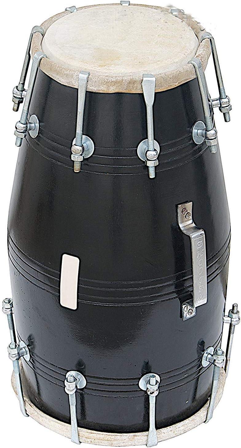 Dholak Drum Instrument SAI Musicals Dholki Padded Bag PDI-FJ Mango Wood Bolt-tuned Black Spanner