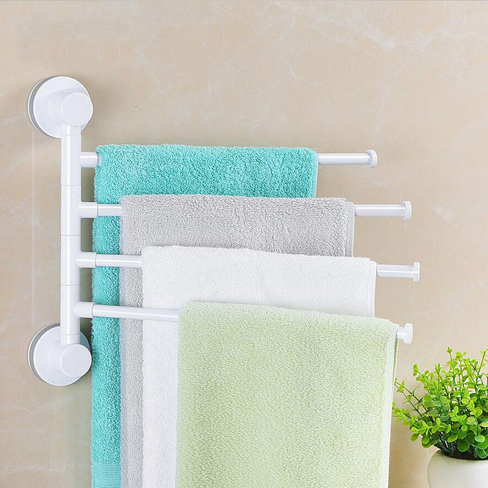 Ghope Swivel Towel Bar 4-Arm Bathroom Swing Hanger Towel Rack Holder Storage Organizer Space Saving Wall Mount Rack Super Power Vacuum Suction No Drill Heavy Duty Removable Reusable