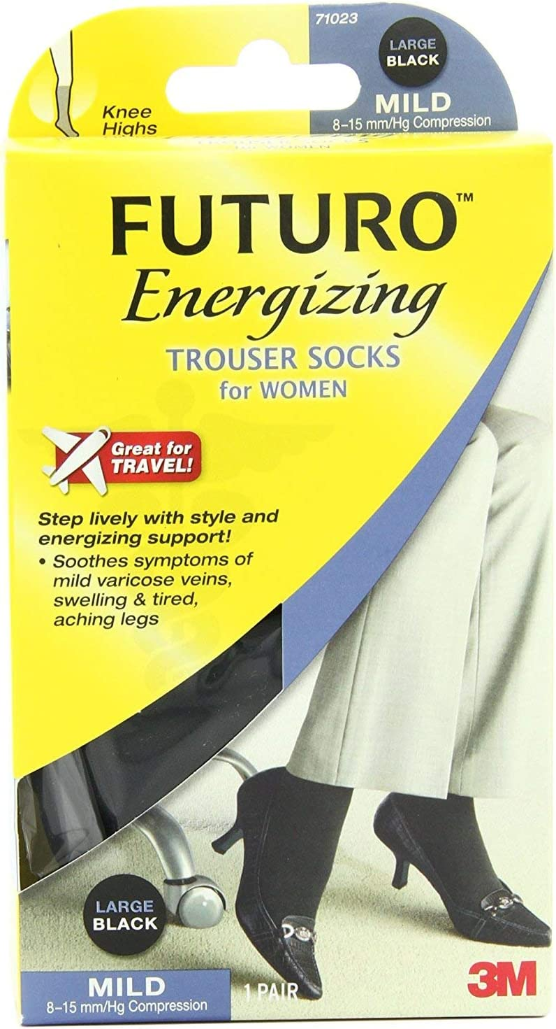 Futuro Trouser Sock for Women, Mild Compression, 8-15 mm/Hg, Large, Black, Helps Improves Circulation to Help Minimize Swelling