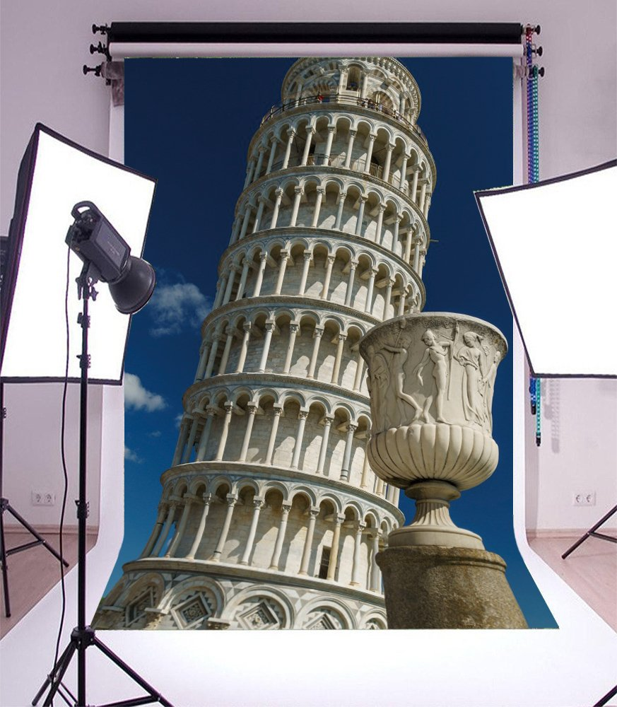 Yeele 8x10ft Leaning Tower Of Pisa Backdrop Mural Sculpture Building Clock Bell Tower Photography Background Baby Adult Travel Portraits Photo Booth Video Shooting Vinyl Wallpaper Studio Props