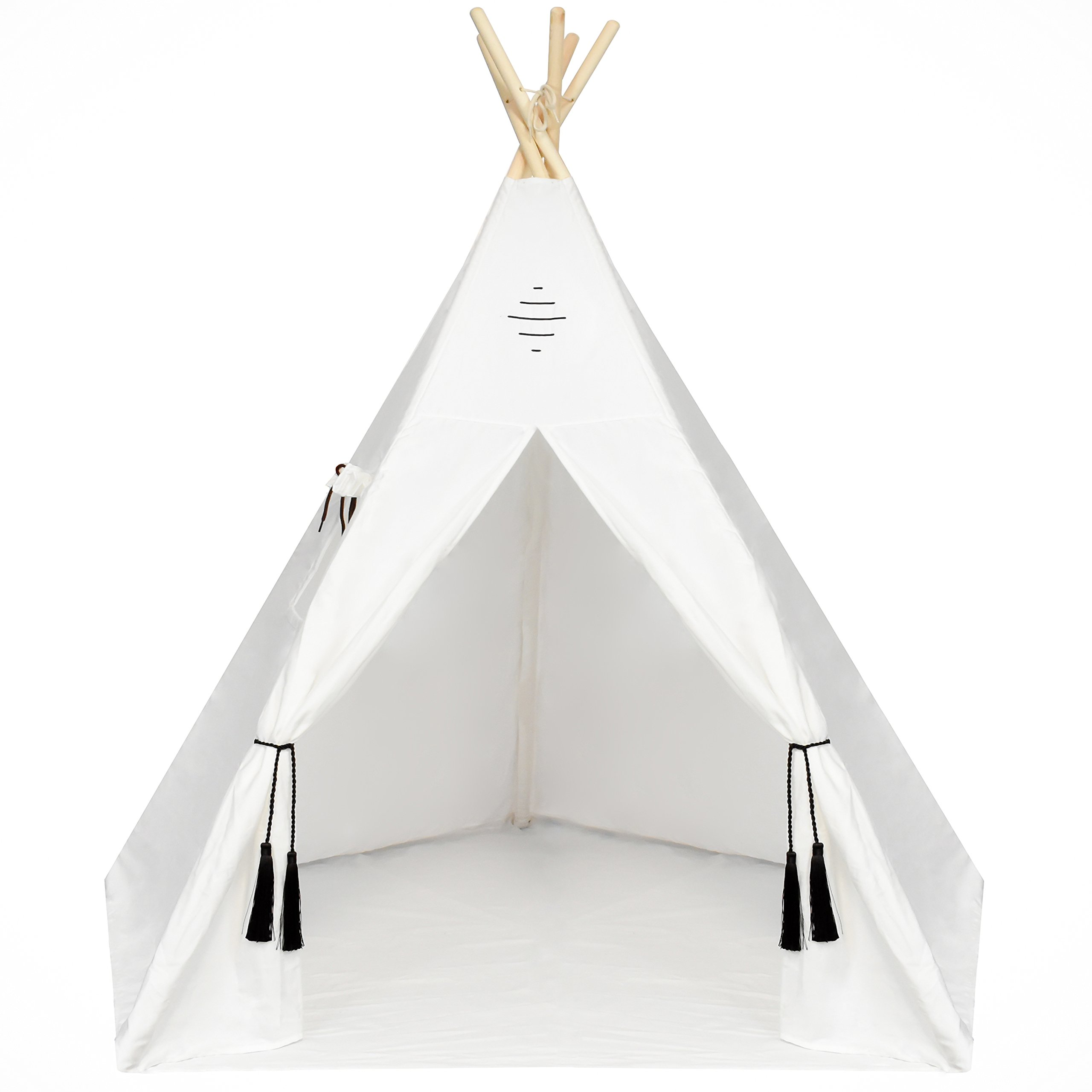 Kids Teepee Tent - Large 6 Feet Tipi with a Floor, Five Poles, Window & Carrying Bag. Foldable Children's Playhouse for Indoor or Outdoor Play. Popular Boys & Girls Gift For Thanksgiving & Christmas.