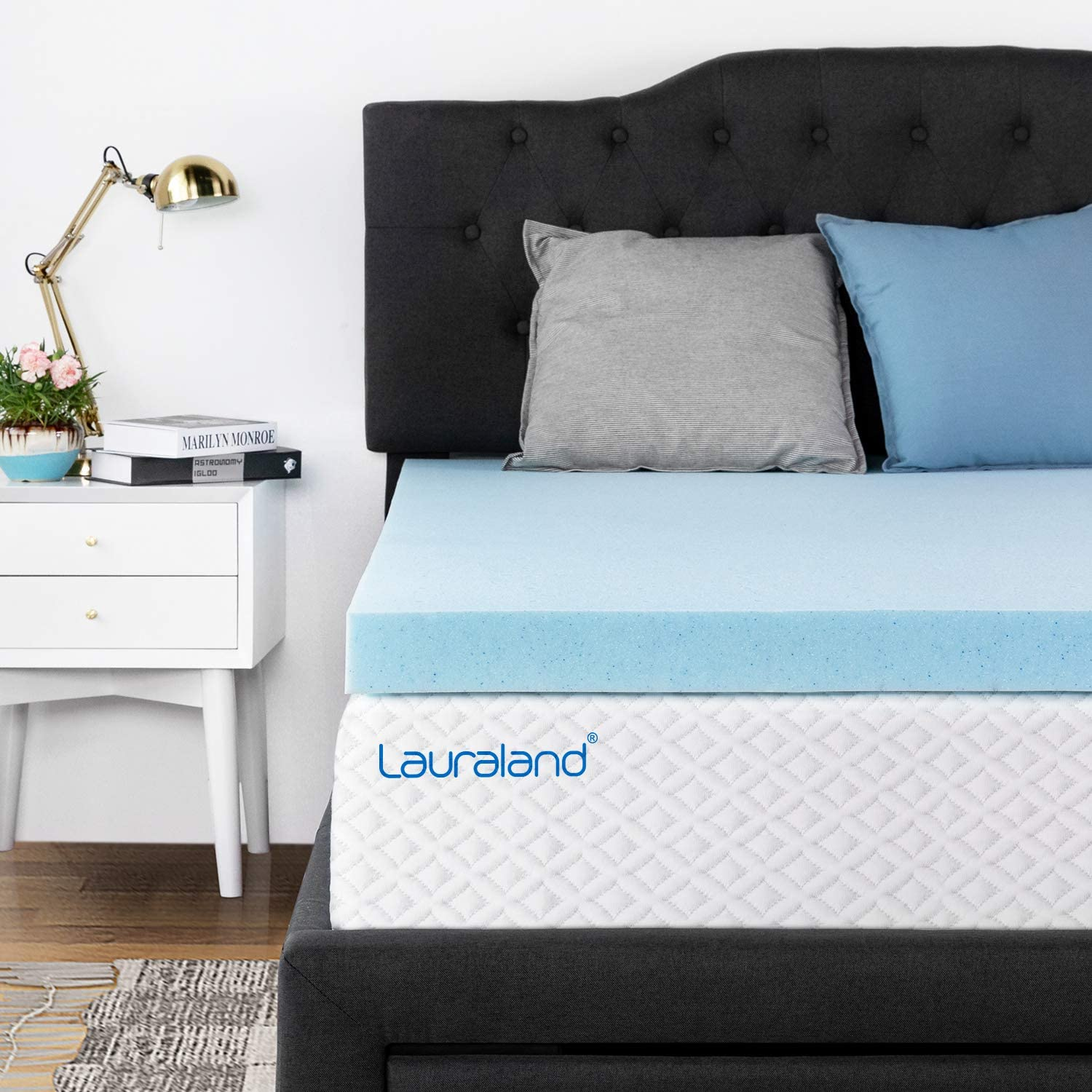 Lauraland Memory Foam Mattress Topper Full, 2-Inch Active Cooling Design Bed Topper, CertiPUR-US 10-Year Warranty