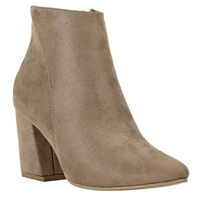 Reneeze FM10 Women's Side Zipper Wrapped Chunky Heel Ankle Booties: Shoes