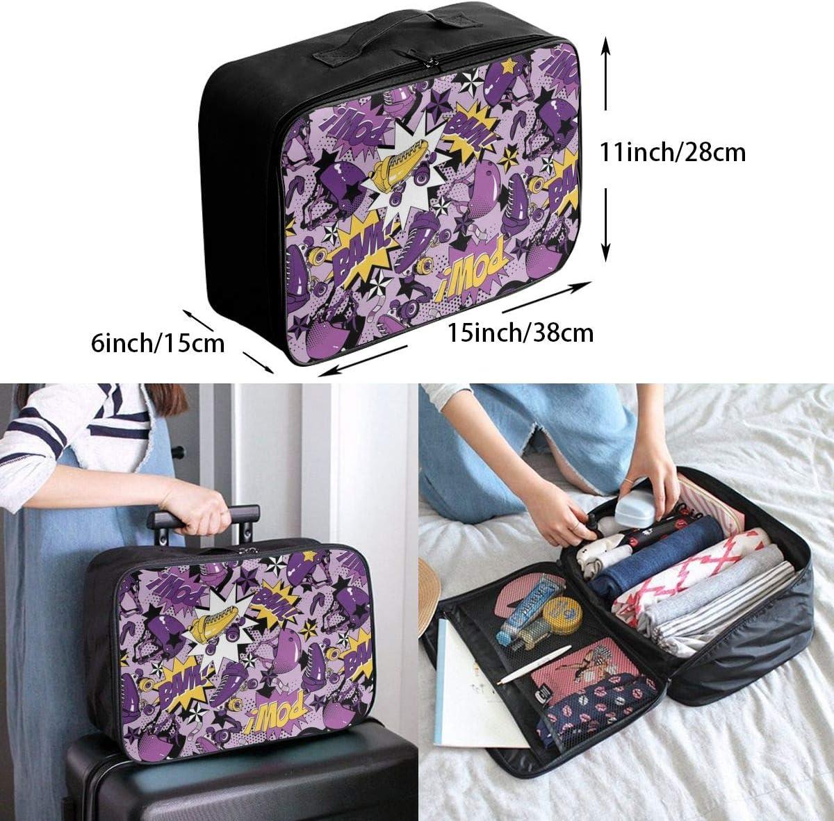 Roller Skate Travel Carry-on Luggage Weekender Bag Overnight Tote Flight Duffel In Trolley Handle