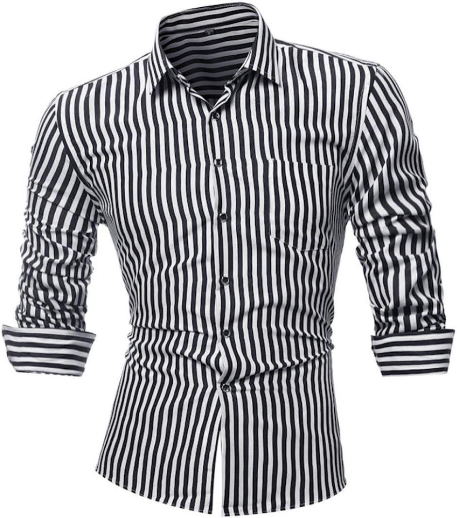Camisas hombre Rayas de manga larga camiseta de otoño e invierno estilo invierno,YanHoo® Mens Casual color manga larga camisa negocio Slim Fit camisa impresa blusa (Negro, L): Amazon.es: Iluminación
