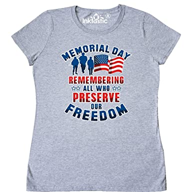 a97af66f9 inktastic - Memorial Day Military Women's T-Shirt Small Athletic Heather  2fca0