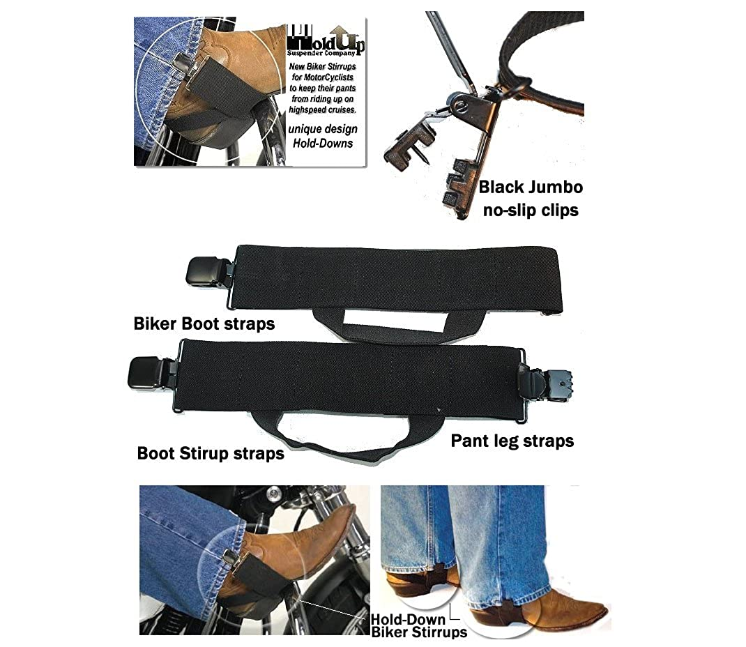 Hold-Ups Biker Stirrups or Boot Straps w//Patented No-slip Jumbo Black Metal Clips 0706HDB