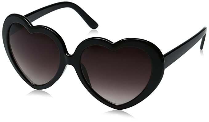 8e73a219e10b Large Oversized Womens Heart Shaped Sunglasses Cute Love Fashion Eyewear ( Black)