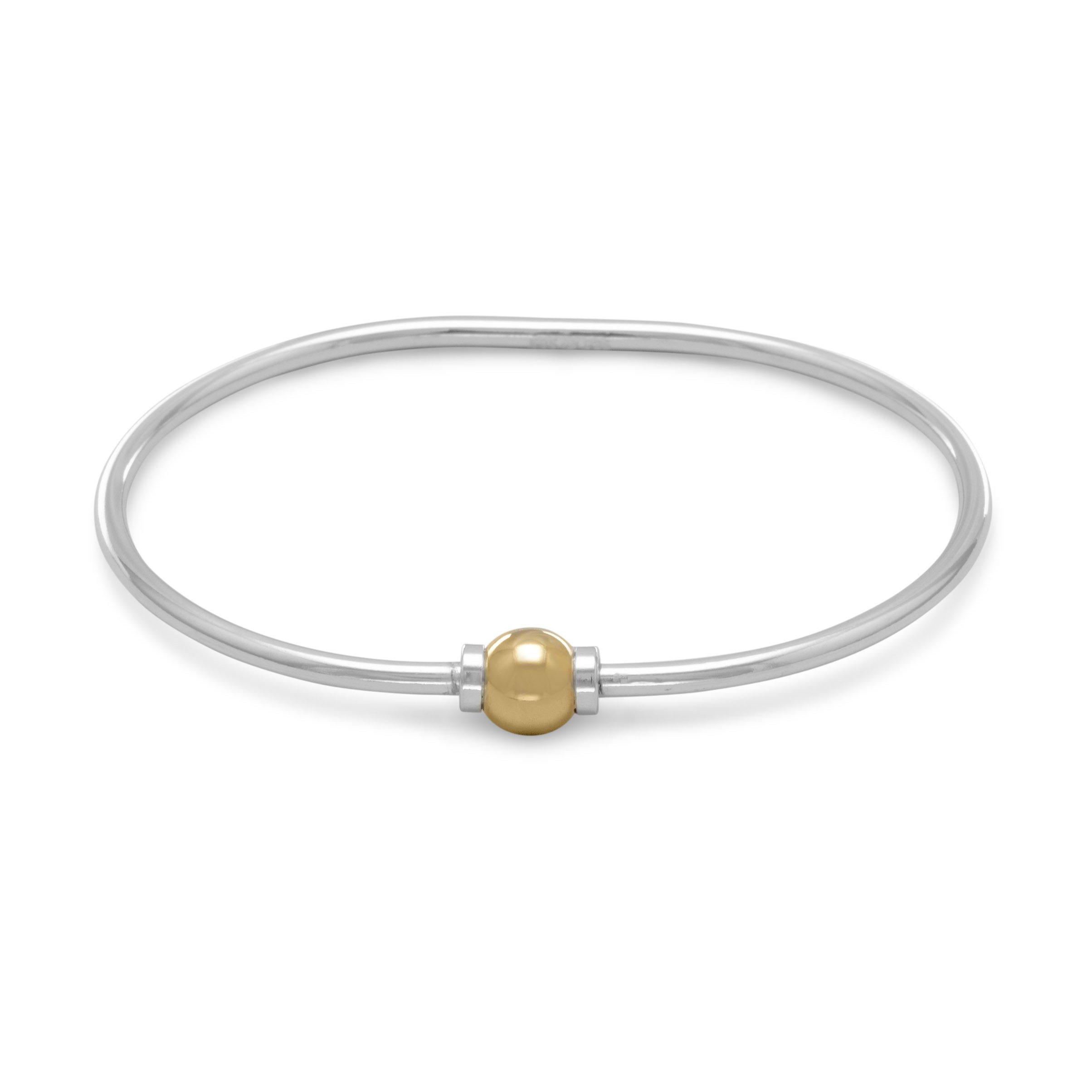 Openable 14K Gold/Sterling Silver Bangle Bracelet, 2.2mm, 7.5mm Bead, 7-1/2 inch