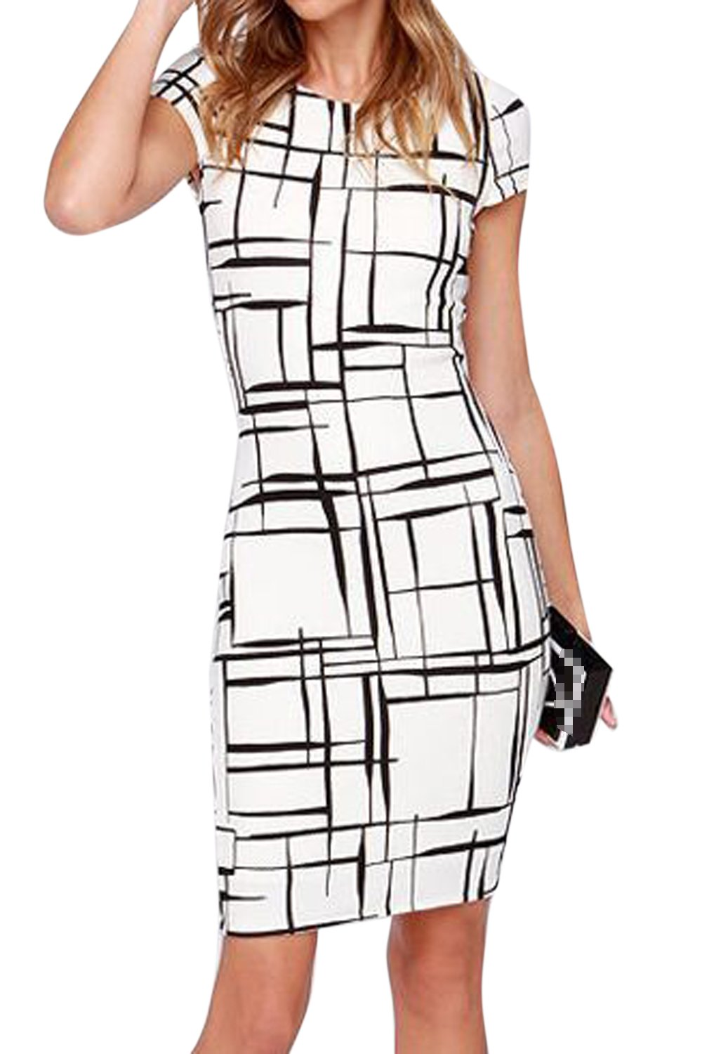 Vepodrau Women Bodycon Dress Short Sleeve Office Midi Dresses CACWMG14