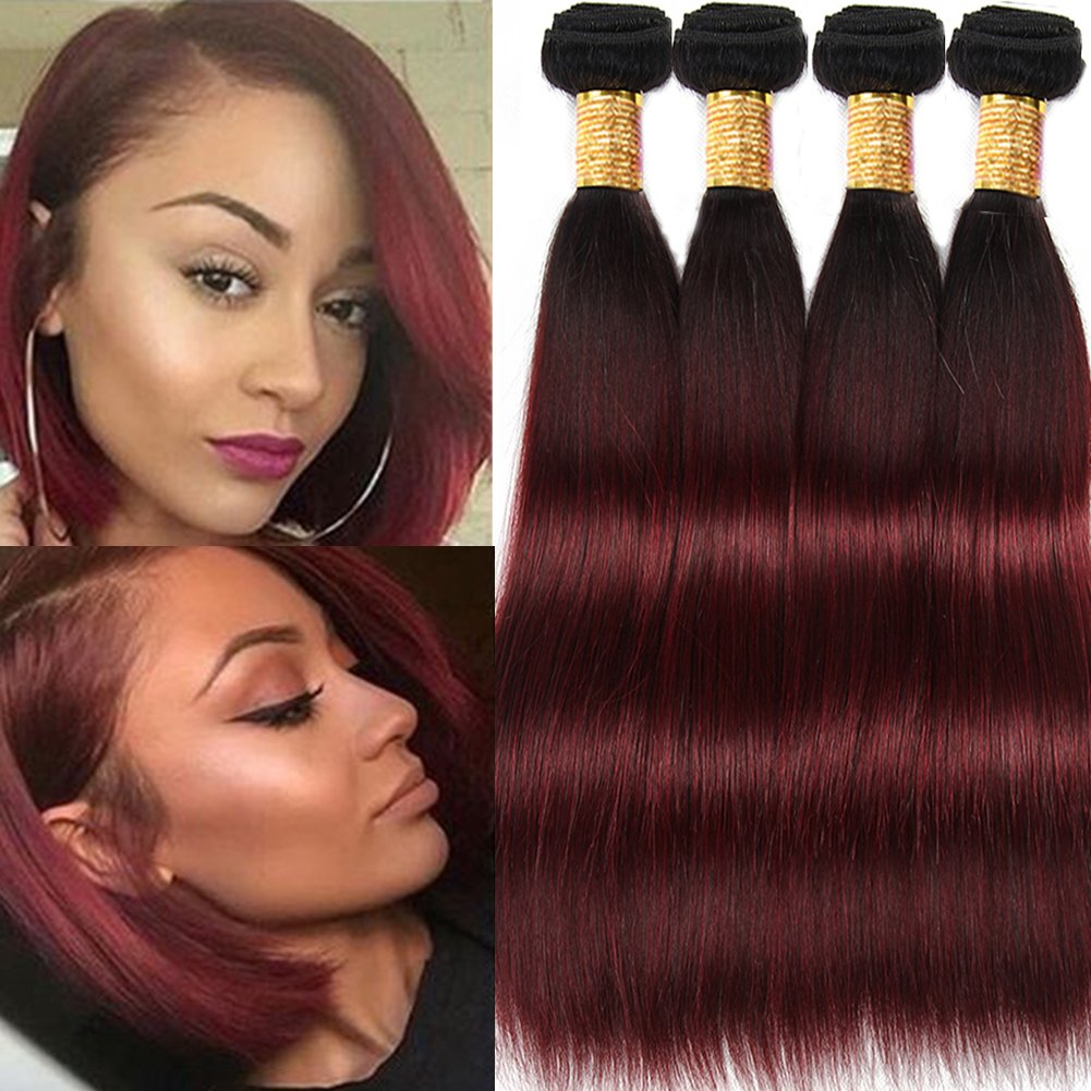 Amazon Com Black Rose Hair Black To Burgundy Ombre Straight Human