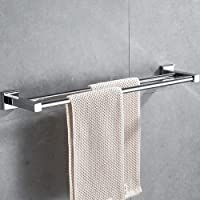 HONPHIER® Handdoekhouder chroom handdoekstangen roestvrij staal dubbele stang handdoekstang bad 60 cm, handdoekhouder…