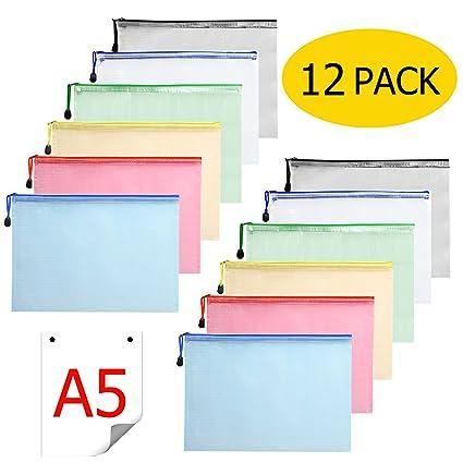 Cartera para documentos A5 – 12 Unidades cremallera funda plástico zip Bolsa Malla para documentos DIN A5 con cremallera para oficinas schulreise ...