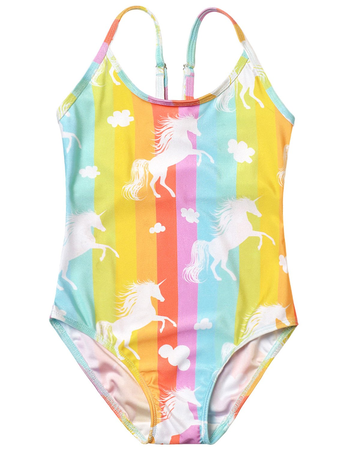 One Piece Swimsuits for Girls Rainbow Unicorn Bathing Suits Teen Swimwear Cute