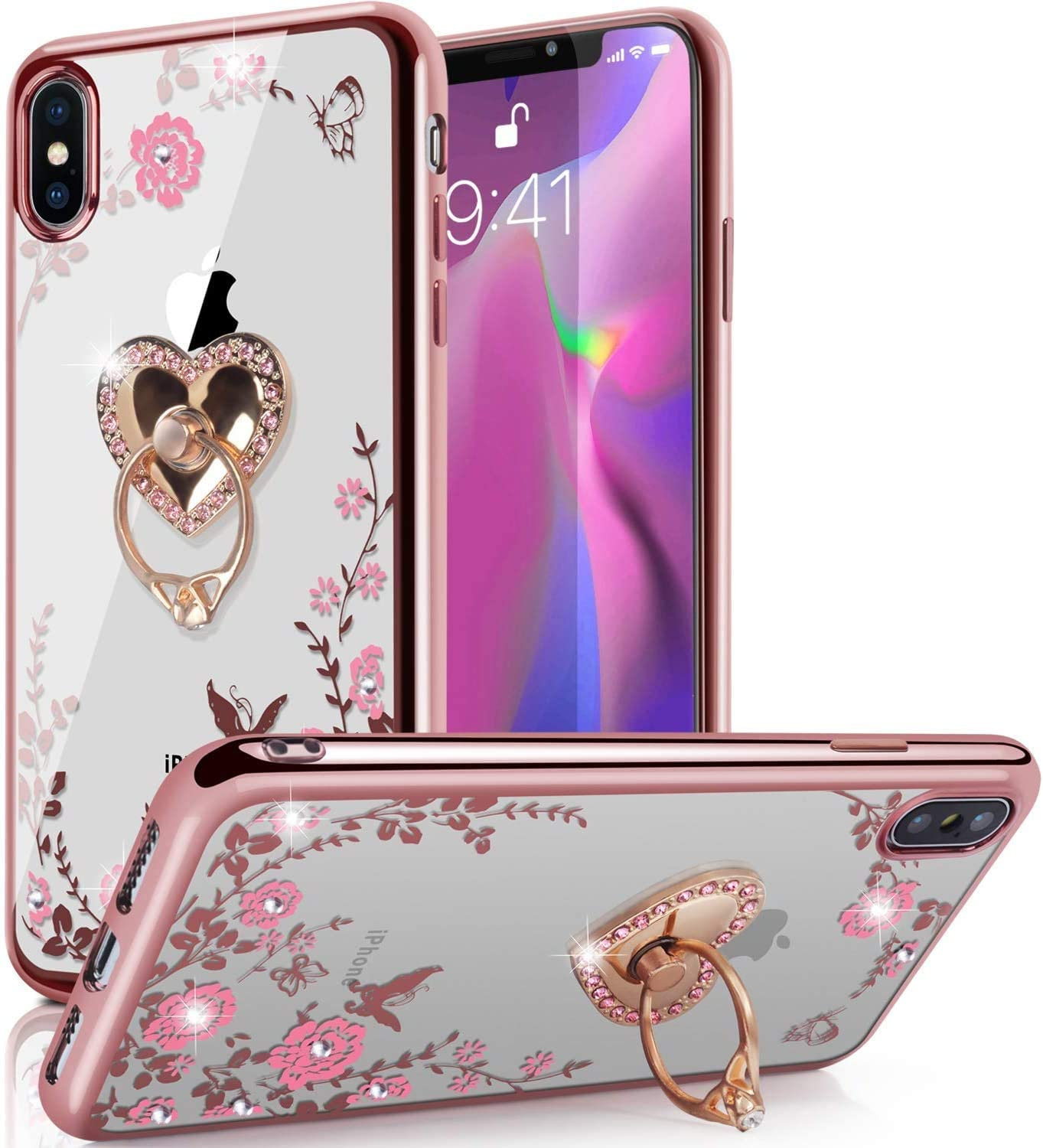 "iPhone Xs Case,iPhone X Case,WATACHE Glitter Sparkly Diamond Secret Garden Floral Butterfly Clear Back Soft TPU Case with Bling Shiny Rhinestone Ring Grip Holder Stand for iPhone Xs/X 5.8"",Rose Gold"