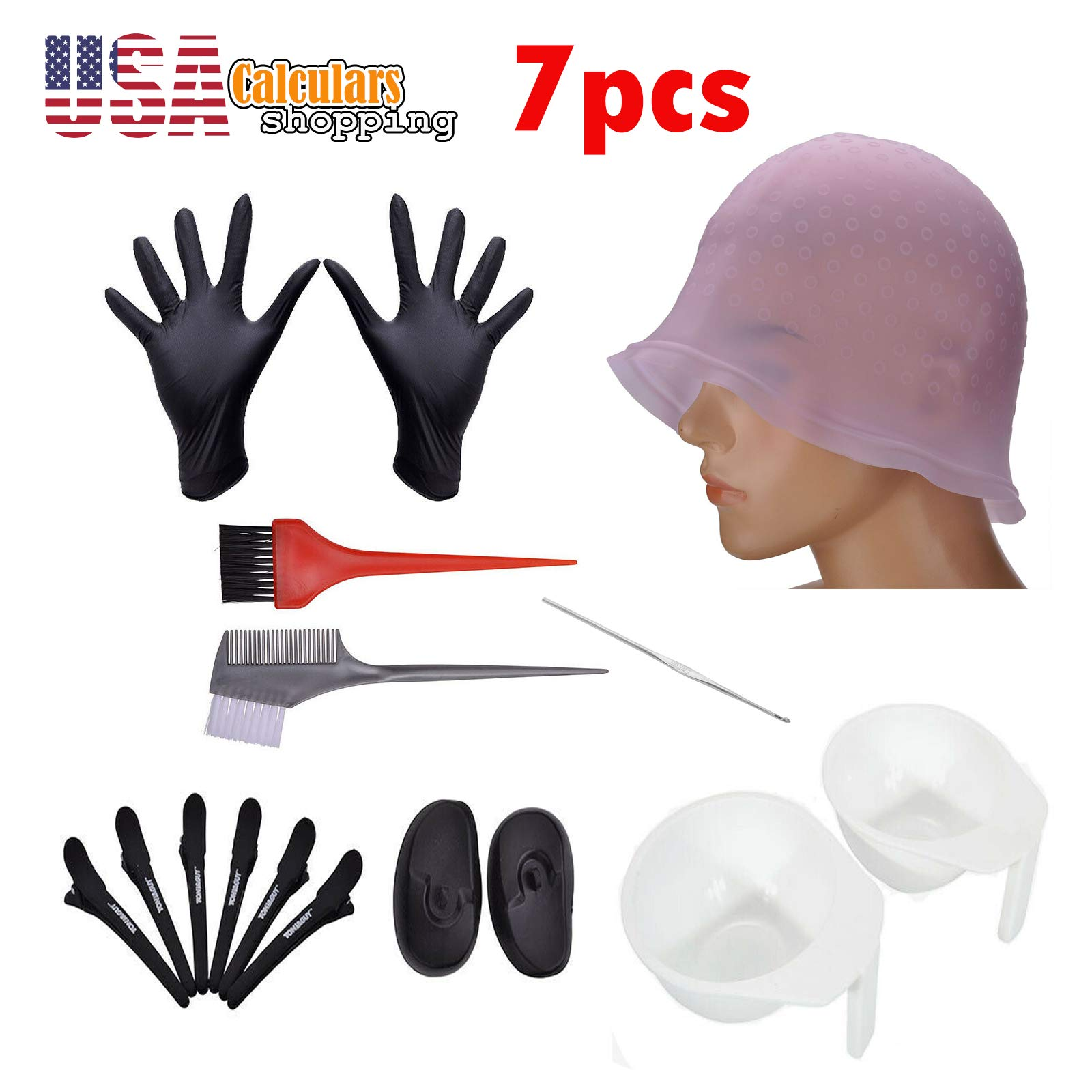 US Seller Hair Coloring Dyeing Kit Color Dye Brush Glove Mixing Bowl Clip Tint Tool by Calculars